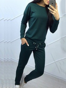 Dark Green Drawstring Bowknot 2-in-1 Pockets Sporty Casual Long Jumpsuit