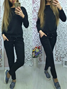 Black Drawstring Bowknot 2-in-1 Pockets Sporty Casual Long Jumpsuit