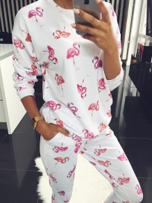White Pattern 2-in-1 Collarless Round Neck Long Sleeve Fashion Long Jumpsuit