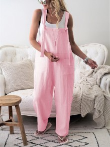 Pink Belt Collarless Sleeveless Fashion Long Jumpsuit