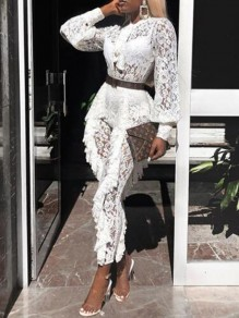 White Floral Lace Ruffle BowKnot Lantern Sleeve High Waisted Casual Long Jumpsuit