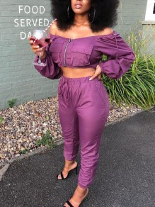 Purple Zipper Pockets Off Shoulder High Waisted Two Piece Casual Long Jumpsuit