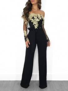 Golden Patchwork Lace Off Shoulder Belt Backless Long Sleeve Wide Leg Palazzo Elegant Party Long Jumpsuit