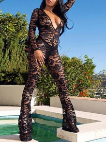 Black Floral Lace Cut Out Grenadine Sheer Streetwear Clubwear Long Flare Jumpsuit Pants