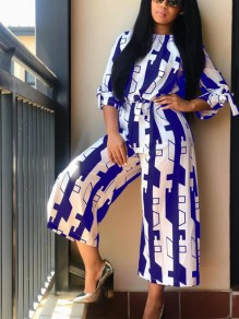 Blue White Geometric Print Sashes Bow Wide Leg Round Neck Casual Long Jumpsuit