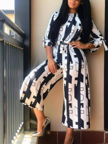 Black White Geometric Print Sashes Bow Wide Leg Round Neck Casual Long Jumpsuit