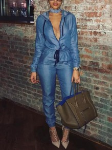 Blue Denim Sashes Zipper High Waisted Deep V-neck Hooded Long Sleeve Casual Long Jumpsuit