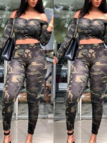 Army Green Camouflage Print Camo Off Shoulder High Waisted Two Piece Casual Long Jumpsuit
