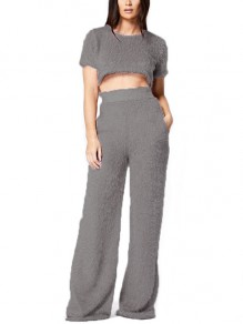 Grey Pockets Fur Crop Two Piece High Waisted Casual Long Wide Leg Palazzo Jumpsuit Pants