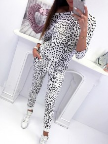 White Camouflage Drawstring High Waisted Sweet Going out Party Long Jumpsuit