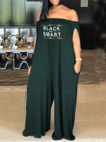 "Army Green ""BLACK AND SMART"" Print Pockets Off Shoulder Casual Long Jumpsuit"