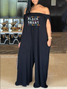 "Black ""BLACK AND SMART"" Print Pockets Off Shoulder Casual Long Jumpsuit"