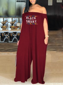 "Burgundy ""BLACK AND SMART"" Print Pockets Off Shoulder Casual Long Jumpsuit"
