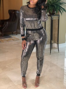 Silver Striped Sequin Two Piece High Waisted Long Sleeve Clubwear Casual Long Jumpsuit Pants