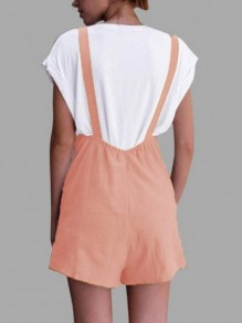 Pink Shoulder-Strap Pockets Sweet Cute Casual Overall Pants Short Jumpsuit