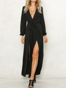 Black Sashes Side Slit V-neck Long Sleeve Fashion Long Jumpsuit