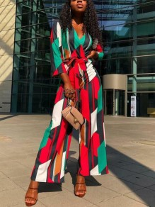 Green Plaid Print Color Block Sashes Deep V-neck Long Sleeve Wide Leg Long Jumpsuit