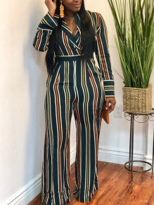 Dark Green Striped Belt Long Sleeve V-neck Casual Wide Leg Palazzo Long Jumpsuit