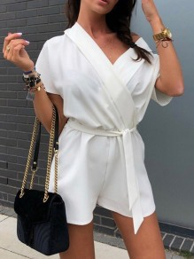 White Sashes Bow High Waisted Sweet Going out Short Jumpsuit