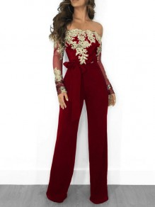 Wine-Red Patchwork Off Shoulder Lace Sashes High Waisted Long Sleeve Eegant Long Jumpsuit