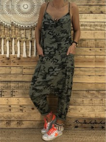 ed36e104cccc Army Green Camo Print Condole Belt Pockets V-neck Cut Out Casual Long  Jumpsuit