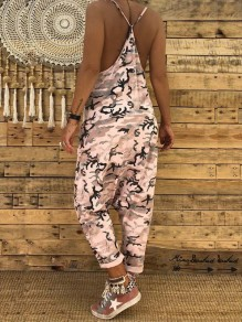 Pink Camo Print Condole Belt Pockets V-neck Cut Out Casual Long Jumpsuit
