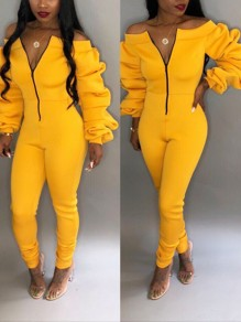 Yellow Off Shoulder Zipper Backless Pile Of Sleeves Bodycon Long Casual Jumpsuit