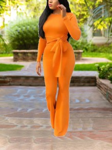 Orange Belt Bodycon Long Sleeve Elegant Party High Waisted Wide Leg Palazzo Long Jumpsuit