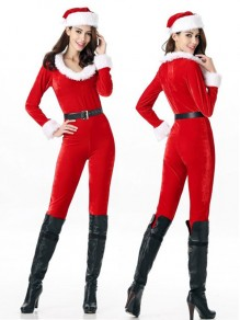 Red Belt Fur High Waisted Party Long Christmas Jumpsuit