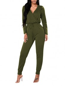 Army Green Drawstring V-neck Long Sleeve High Drawstring Waist Casual Long Jumpsuit Pants