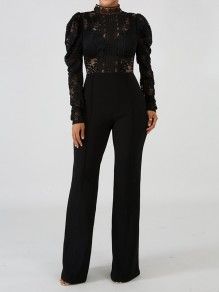 87227fb9b4b2 Black Patchwork Lace Cut Out Mandarin Collar Puff Long Sleeve Flare Bell Bottom  Long Jumpsuit Pants
