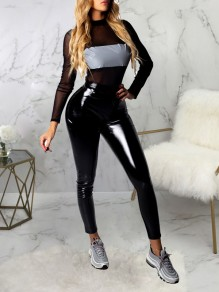 Black Grenadine Two Piece Pockets PU Leather Latex Vinly Bodycon Party Clubwear Long Jumpsuit