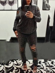 Silver Bright Wire Cut Out Distressed Ripped Two Piece Hooded Long Sleeve Casual Long Jumpsuit