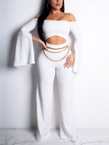 White Off Shoulder Cut Out Long Sleeve High Waisted Elegant Party Wide Leg Palazzo Jumpsuit