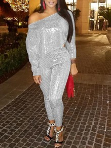 Silver Sequin One-Shoulder Glitter Sparkly High Waisted Two Piece Banquet Party Long Jumpsuit