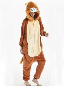 Brown Animal Lion Print Zipper Hooded Long Sleeve Pajamas Cute Long Jumpsuit