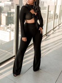 Black Bright Wire Two Piece Kont Cut Out Long Sleeve High Waisted Party Wide Leg Palazzo Long Jumpsuit