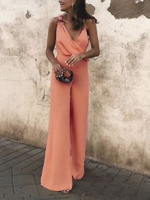 Pink Buckles Bodycon Deep V-neck Going out Jumpsuit Pant