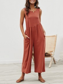 Brick Red Pockets Backless Round Neck Sleeveless Fashion Wide Long Jumpsuit Pant