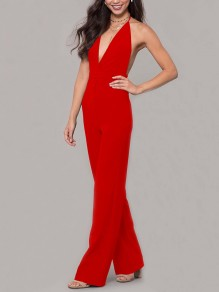 Red Condole Belt Tie Back Backless Plunging Neckline Sleeveless Elegant Long Jumpsuit