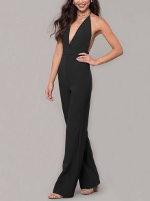 Black Condole Belt Tie Back Backless Plunging Neckline Sleeveless Elegant Long Jumpsuit