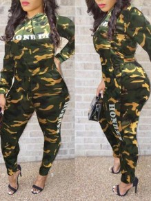 Army Green Camouflage Honhey Pattern Pockets Two Piece Casual Long Jumpsuit