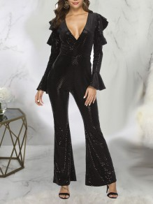 Black Patchwork Sequin Ruffle Cut Out V-neck Bell Sleeve Sparkly Glitter Party Wide Leg Palazzo Long Jumpsuit