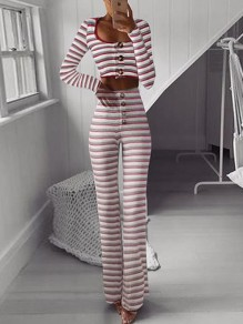 Burgundy Striped Buttons Two Piece Long Sleeve Wide Leg Palazzo Long Jumpsuit