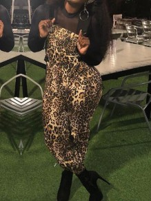 Brown Leopard Pattern Pockets High Waisted One Piece Casual Overall Long Jumpsuit
