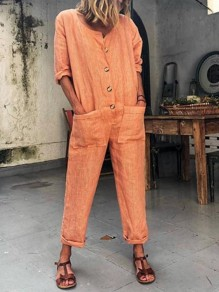 Orange Pockets Single Breasted Mid-rise Fashion Long Jumpsuit