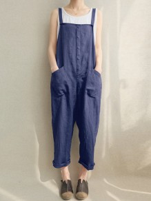 Dark Blue Pockets Buttons Mid-rise Fashion Long Jumpsuit Overall Pants
