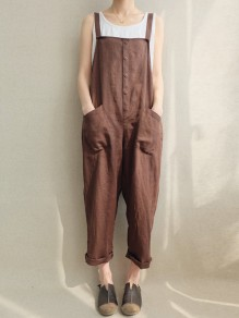 Coffee Pockets Buttons Mid-rise Fashion Long Jumpsuit Overall Pants