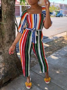 Red-Green Striped Sashes Pleated Square Neck Half Sleeve Casual Long Jumpsuit