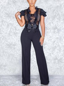 Black Patchwork Lace Bow Cascading Ruffle Bodycon Elegant Party Wide Leg Palazzo Long Jumpsuit